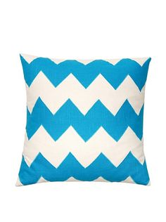 Square Feathers Zig Zag Ivory/Turquoise Square Pillow at MYHABIT