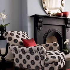 love the chair and the black fireplace