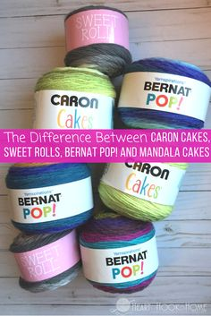 The Difference in Bernat Pop! Yarn Cakes, Caron Cakes, Mandala and Sweet Rolls (Heart · Hook · Home) Caron Cakes Crochet, Crochet Cake, Crochet Crafts, Crochet Rugs, Crochet Books, Diy Crochet, Diy Crafts, Bernat Pop Yarn, Caron Yarn