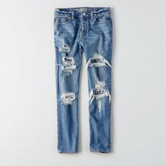 Vintage Hi-Rise Jean ($50) ❤ liked on Polyvore featuring jeans, blue, vintage jeans, american eagle outfitters, long length jeans, destructed jeans and blue ripped jeans