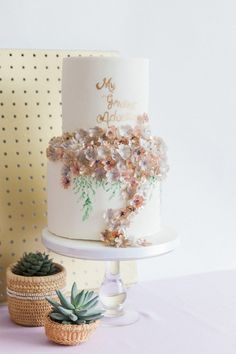Wedding cake with cascading lowers   Wanderlust Wedding Inspiration + An Interview with Events by Keenda - BLOVED Blog