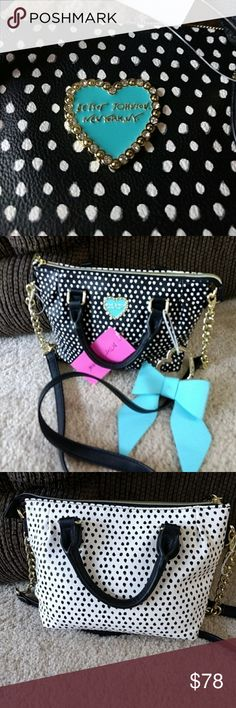 *Sale* Betsey Johnson blue bow crossbody Black and White spotted with a cute blue bow Betsey Johnson Bags