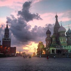 View of Red Square at sunset