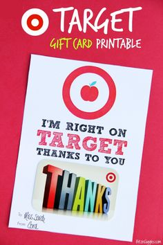 Target Gift Card Printable for Teacher Appreciation! Just print out and secure the gift card with tape or rubber cement! So easy and what a great gift any teacher is sure to enjoy! {BitznGiggles.com}
