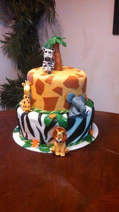 Safari theme baby shower cake. Hand made animals.  Congrats Frederica!!