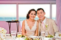 Bride and Groom at Sweetheart Table - Beach Weddings at The Sunset - Malibu, California - Photography: www.truephotographyweddings.com