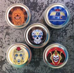 Star Wars ~ Rebel Alliance ~ Dia de los Muertos ~ 5 - 2oz candle tins ~ 100% Soy ~  Day of the Dead ~ Travel Tins by VintageUnwined on Etsy