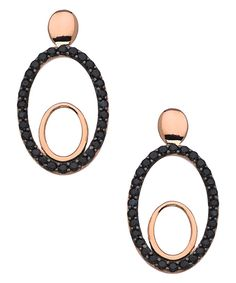 Rose Gold and CZ Double Oval Drop Earrings