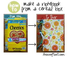 cereal box to notebook,.. Do you collect free paper from Staples? This is a cute and easy way to make notebooks for your shoeboxes. Love this!