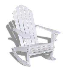 AuBergewohnlich Schaukelstuhl Relaxstuhl Stuhl Hartholz Sessel Gartenmöbel Gartenstuhl Weiß  Garten Terrasse, Schaukelstuhl, Sessel, Holz