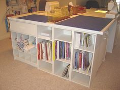love this - great way to organize in the sewing room!