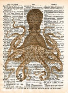 Octopus wall art, vintage octopus drawing, dictionary print, book page art