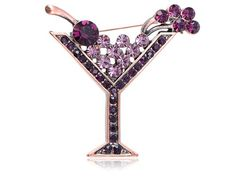 $8.99 This pin brooch is in the unique shape of a cocktail glass. Elegant piece with crystals all over it, make it a great wear for a cocktail party with your cocktail dress.