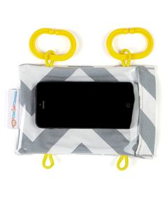 Talk about on-the-go entertainment! This cute case creates a personal theater and activity center for traveling tots. Simply download those favorite flicks or games onto a smartphone then hang it from a shopping cart, stroller, play pen and more for instant visual stimulation. Designed by moms for moms, the pretty print keeps the case cute while protecting technology from slips, drops and eager little fingers.4.25'' W x 6.75'' H x 2.75'' DCotton / vinylHand wash; hang dryMade in the USA