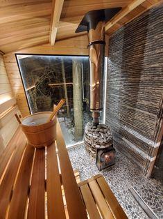 Basement Sauna, Sauna Room, Sauna Wood Stove, Scandinavia House, Building A Sauna, Home Spa Room, Sauna House, Sauna Heater, Steel Cladding