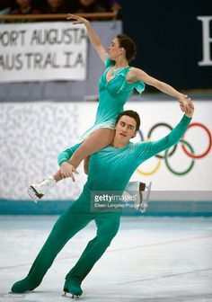 Sergei Grinkov and Ekaterina Gordeeva of Russia competing in the pairs figures skating event during the Winter Olympic Games in Lillehammer, Norway, circa February 1994. The couple won the gold medal in the event.