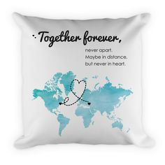 Personalized Keychains, Jewelry, Tokens, Gifts & More! Long Distance Relationship Gifts, One Year Anniversary Gifts, Together Forever, Throw Pillows, Map, Gift Ideas, Awesome, Unique Jewelry, Handmade Gifts