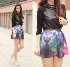 galaxy skirt - i would wear this with white top + black/navy blazer