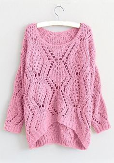 Knit woman pink sweater slouchy oversized fashion pullover Warm winter/spring jumper Plain cotton s Knit Cardigan Pattern, Crochet Poncho, Cotton Sweater, Pink Sweater, Winter Sweaters, Sweaters For Women, Pullover Outfit, Pullover Pullover, Easy Knitting