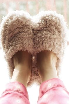 Wearing fuzzy slippers #PresentPerfect