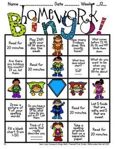YEAR-LONG HOMEWORK BINGO MULTI-THEMED FIRST GRADE - TeachersPayTeachers.com