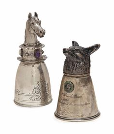 A Russian Silver and Silver-Gilt Horse Head-Form Stirrup Cup. Marked for St. Petersburg, 1908 - 1917, Maker's Mark Cyrillic 'K.F.'