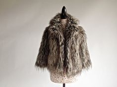 90's Boho Shaggy Faux Raccoon Monster Fur by FeelingVagueVintage, $56.00