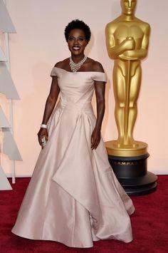 Viola Davis. Oscars 2015. Wearing Zac Posen.
