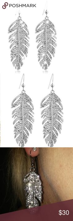 ✨Boho Feather Rhinestone Earrings✨ Style: Boho Theme: Beauty Occasion: Party, Cocktail, Club Material: Alloy Features: Alloy Feather Drop, Rhinestone, Hook, Boho Style Size: 6.5 x 2.2cm/2.56'' x 0.87'' Jewelry Earrings