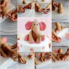 Paso a paso cómo hacer un elefante de fondant para decorar tartas.
