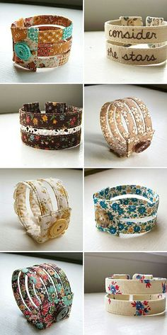 """cuff bracelets -Seen them made from plastic boning and bias tape! """"I""""--recycle-- plastic bottles for my cuff bracelets. Textile Jewelry, Fabric Jewelry, Sewing Crafts, Sewing Projects, Diy Crafts, Jewelry Crafts, Handmade Jewelry, Fabric Bracelets, Bijoux Diy"""