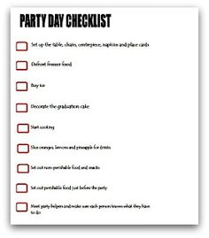 party day planning checklist
