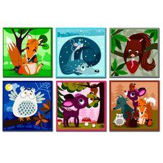 woodland animals toys | Kubkid - 9 forest animal design cubes | JANOD | Toy EurekaKids