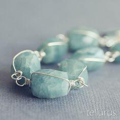 Song of Aegir  AQUAMARINE bracelet organic nuggets and by tellurus