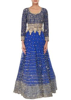Royal blue anarkali embellished in sequins and thread embroidery only on Kalki