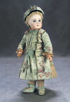 """Superb Early French Bebe Jumeau with Original Couturier Costume 14"""" (36 cm.) Marks: 5 (?illegible mark on head). Comments: Emile Jumeau,circa 1877,earliest period bebe from that maker."""