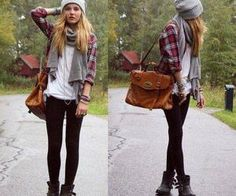 This outfit sums up the 4 B's perfectly - bags + beanies + braclets + boots = flawless. Add these things to any outfit and it instantly looks super casual and great. Beanies are also super useful with those bad hair days that we all know and love :) Fashion 90s, Look Fashion, Womens Fashion, Grunge Fashion, Fashion Styles, Travel Fashion, Fashion Outfits, Hipster Fashion, Street Fashion