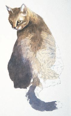 Quick demo: how to paint a cat in watercolor, by Joe Garcia, author of The Watercolor Bible. ~ch #cat #watercolor #art
