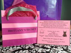 "Lingerie Bridal Shower ""Victoria's Secret"" bag invitations"