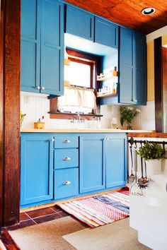 Cool Cornflower - 15 Times Painted Kitchen Cabinets Changed Everything - Photos