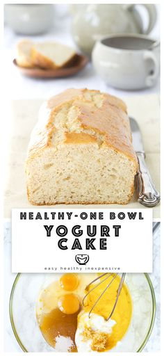This simple and healthy yogurt cake is moist, delicious, with hints of lemon and loaded with yogurt. Mix all the ingredients, bake and have a lovely breakfast! Vanilla Yogurt Cake, Greek Yogurt Cake, Almond Yogurt, Yogurt Dessert, Frozen Yogurt, Desserts With Yogurt, Almond Flour, Homemade Yogurt Recipes, Healthy Dessert Recipes