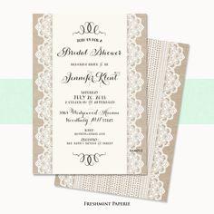 Printable or Printed invitations    burlap by FreshmintPaperie, $18.50