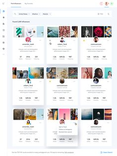 A – Search Influencers by Filip Justić on Inspirationde Modern Web Design, Web Ui Design, Dashboard Design, Page Design, Flat Design, Web Layout, Layout Design, Card Ui, Ui Design Inspiration