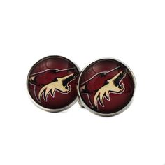 Arizona Coyotes Jerseys Logo cufflinks. NHL Jerseys. Ice Hockey team. Gift for men. Cabochon cuff links. Personalised Silver.