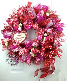 Custom ordered Deco mesh Valentines Day wreath with heart sign and tulips by www.southerncharmwreaths.com #valentinesday #party #decor
