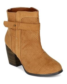 Qupid BC57 Women Suede Perforated Round Toe Chunky Heel Ankle Bootie - Camel -- Unbelievable outdoor item right here! : Western boots