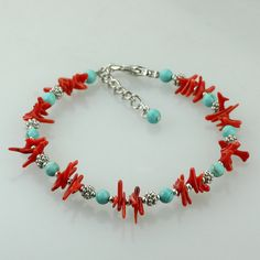 Turquoise coral beaded bracelet Bridesmaid gifts Free US Shipping handmade Anni designs Coral Bracelet, Bridesmaid Bracelet, Coral Jewelry, Bridesmaid Gifts, Diy Jewelry, Beaded Jewelry, Handmade Jewelry, Jewelry Making, Beaded Bracelets