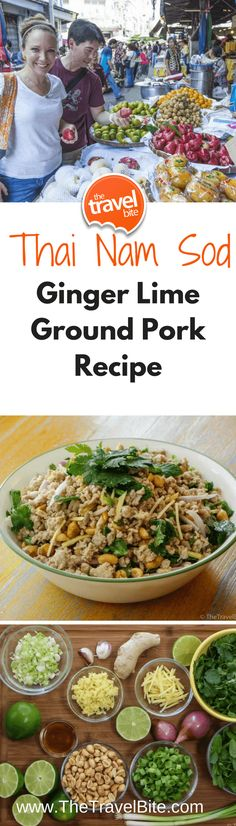 Thai Nam Sod:  Ginger Lime Ground Pork Recipe ~ http://thetravelbite.com