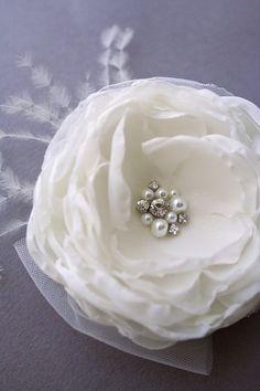 Bridal Flower Hair Clip, Ivory Peony Bridal Hairpiece, Hair Flower, Wedding Hair Accessories,