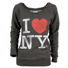 Womens I Love New York Sweater Black Wash (£25) ❤ liked on Polyvore